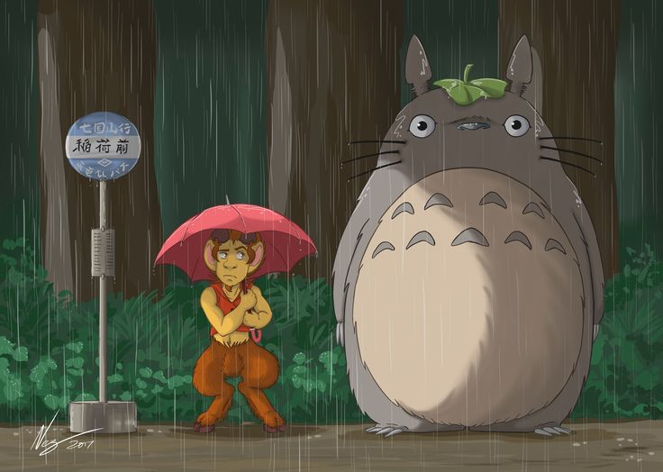 #Totoro and Norf #crossoverart special design. #busstopscene #dragoncalling