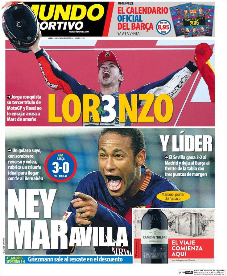 Portada Mundo Deportivo 9/11/2015