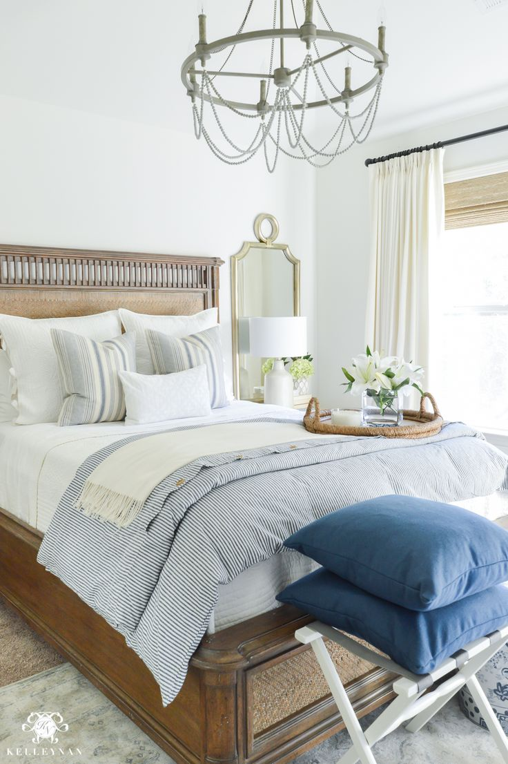 One Room Challenge Blue and White Guest Bedroom Reveal Before and After Makeover- calming guest bedroom decor