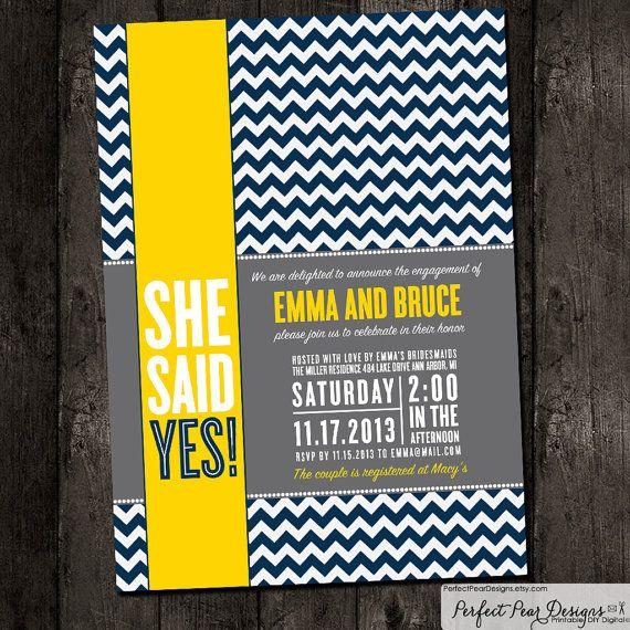 Couples Wedding Shower Invitation - Chevron Modern Navy Blue, Yellow Grey, Bridal, Baby, Same-sex unions (Printable DIY Digital Design)