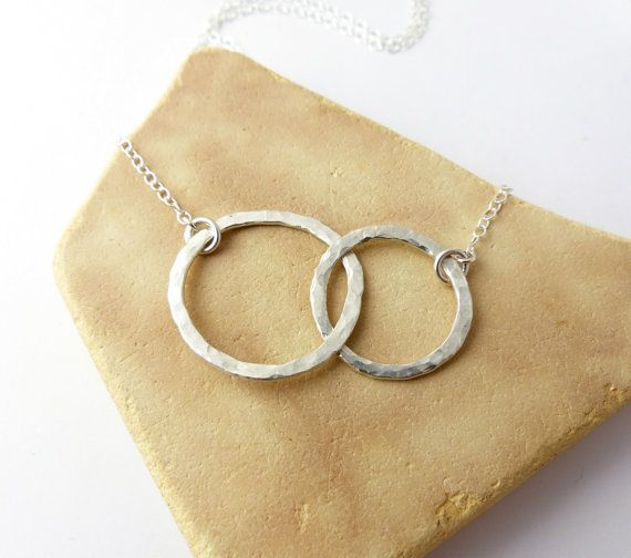 Interlocking Circle Necklace Eternity Geometric by BrassCatDesign 16inch chain