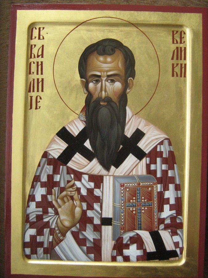Свети Василије Велики, јајчана темпера на дасци, дим. 36х26цм, злато. ЦЕНА:  19 200 РСД