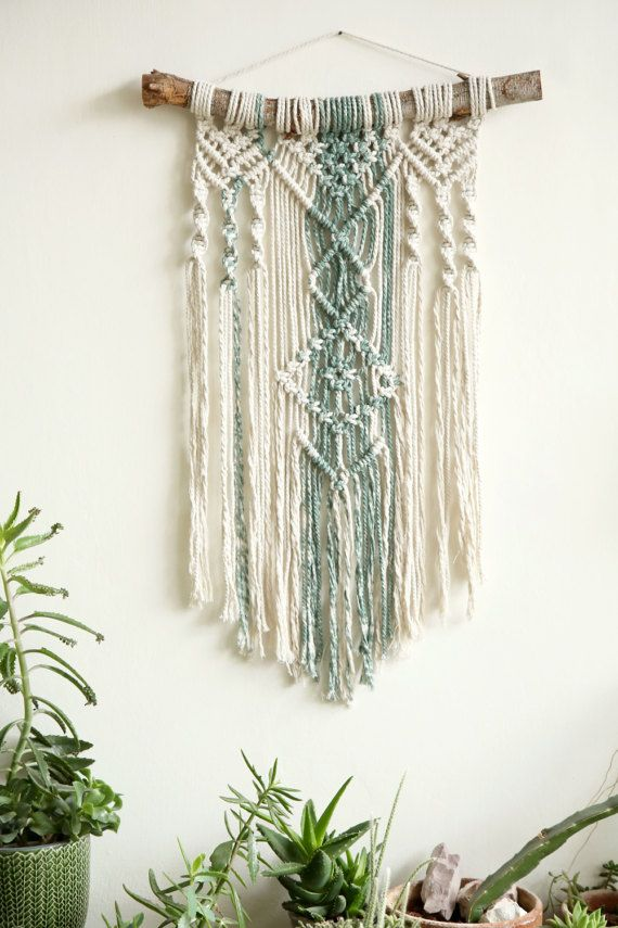Wall tapestry, Macrame Tapestry, Macrame Wall Hanging, Modern Macrame, Dip Dye macrame, Wall Art, Boho Wall Hanging, boho art, boho decor, green decor  macrame wall hanging can hang & decor your walls and give your home bohochic. this modern macrame gives your room warm feeling, you can hang it in your badroom,living room or any other room.  ^^^^^^^^^^^  Macrame width- 45cm \ 17.5 inches Macrame length- 70cm \ 27.5 inches  ^^^^^^^^^^^  for green wall hanging: https://www.etsy.co...