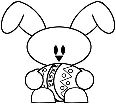 How to draw a baby bunny holding an easter egg drawing for Easy spring pictures to draw