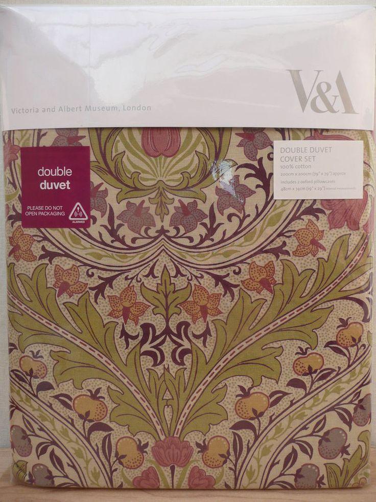 New V&A Brocatelle DOUBLE Duvet Cover & Pillowcases Set WILLIAM MORRIS CO Fabric