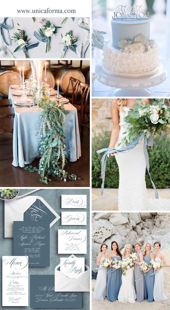 Slate blue wedding invitations. Dusty blue wedding invitations. Dusty blue bridesmaids. Light blue wedding cake. Slate blue and greenery wedding. Summer wedding. Classy wedding. Greenery bouquet with color. Slate blue bouquet. Slate blue boutonniere. Invitations by Unica Forma