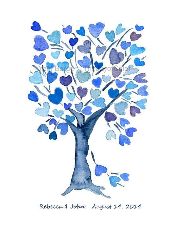 Árbol de corazones azul, arte impresión personalizada arte, bodas, San Valentín, regalo de aniversario, corazones, madres imprimir Acuarela del día, cumpleaños,
