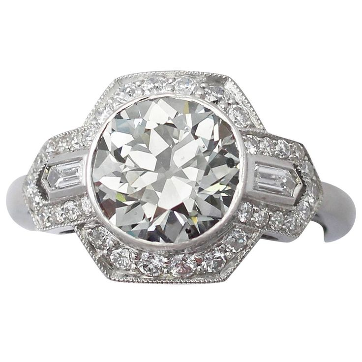 2.93 ct Diamond and Platinum Dress Ring - Art Deco Style | From a unique collection of vintage cocktail rings at https://www.1stdibs.com/jewelry/rings/cocktail-rings/