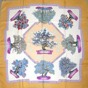 Hermes silk twill carre scarf, Bonsai design
