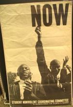 Rare original 1963 Danny Lyon Lithograph Poster published by Student Nonviolent Coordinating Committee -    Photo taken at the Atlanta Sit-ins & Mass Arrests in December 1963. After years of protest, the single word NOW had come to be a powerful demand for civil rights in America in the early 1960s. A nice copy of a rare, iconic poster, after a photograph by noted civil Rights photo-journalist Danny Lyon.