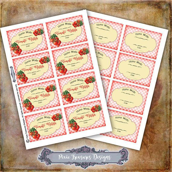 Tomato Relish Labels Blank Labels Digital Label Sheets