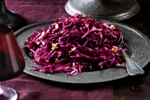 A zesty coleslaw made with red cabbage. Allow 3 hours marinating time for the flavours to mature.