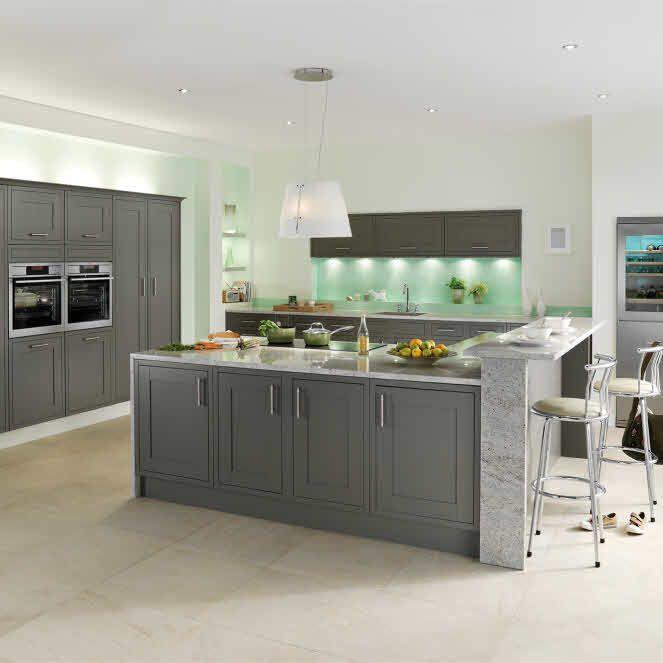 Somerton Fern Kitchen From Magnet Kitchen Looks Shaker Kitchen Kitchen Island With Seating