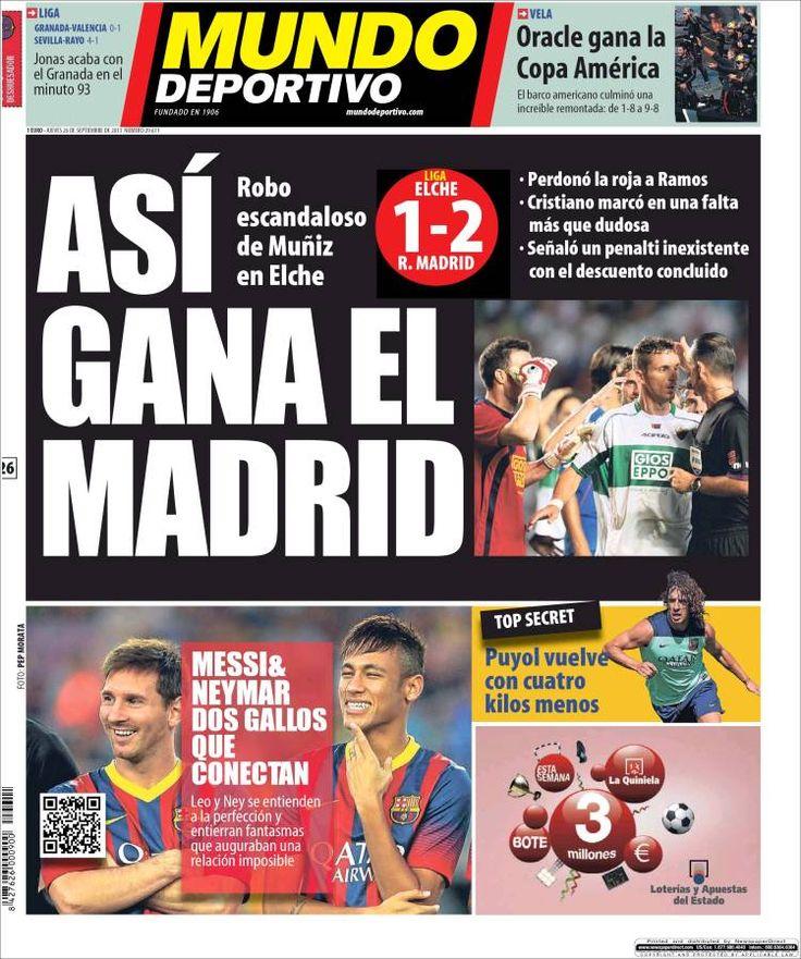Los Titulares y Portadas de Noticias Destacadas Españolas del 26 de Septiembre de 2013 del Diario Mundo Deportivo ¿Que le pareció esta Portada de este Diario Español?
