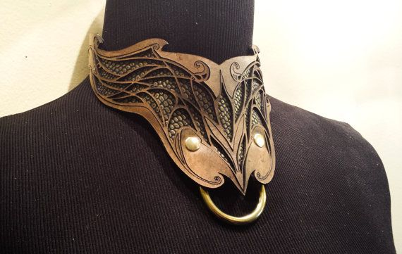 Leather Collar with laser cut design- Elven design, dragon hide, kinky geek, Slave Collar, Choker