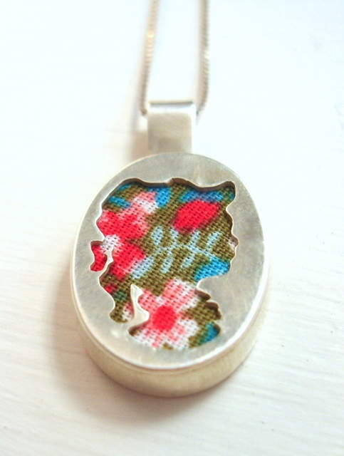 floral fabric and sterling silver cameo pendant