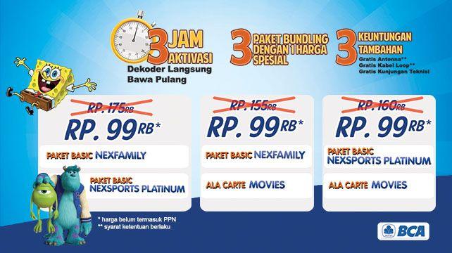 Ayok ke Jakarta Fair Kemayoran tahun ini! Buat kamu yang subscribe Nexmedia di sana, ada penawaran menarik lho! Dekoder langsung aktif 3jam disitu tanpa nunggu 1x24jam dan ada diskon utk pemegang BCA Credit dan Non BCA.