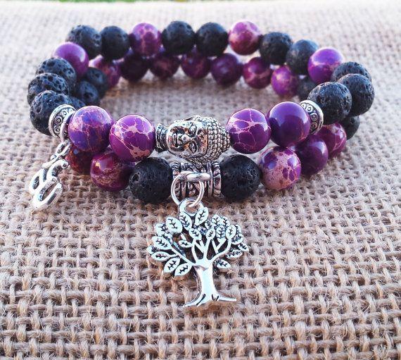 Yoga femmes Bracelet jaspe violet lave noire par BohemianChicbead