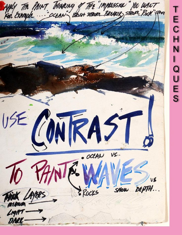 Use contrast to paint waves, rocks, sea and depth in your watercolour painting (watercolor)