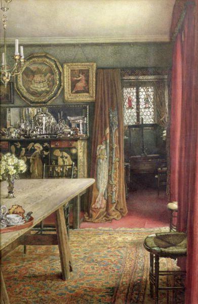 Pre Raphaelite Art: Interior view of The Grange, North End Road: home of Burne-Jones