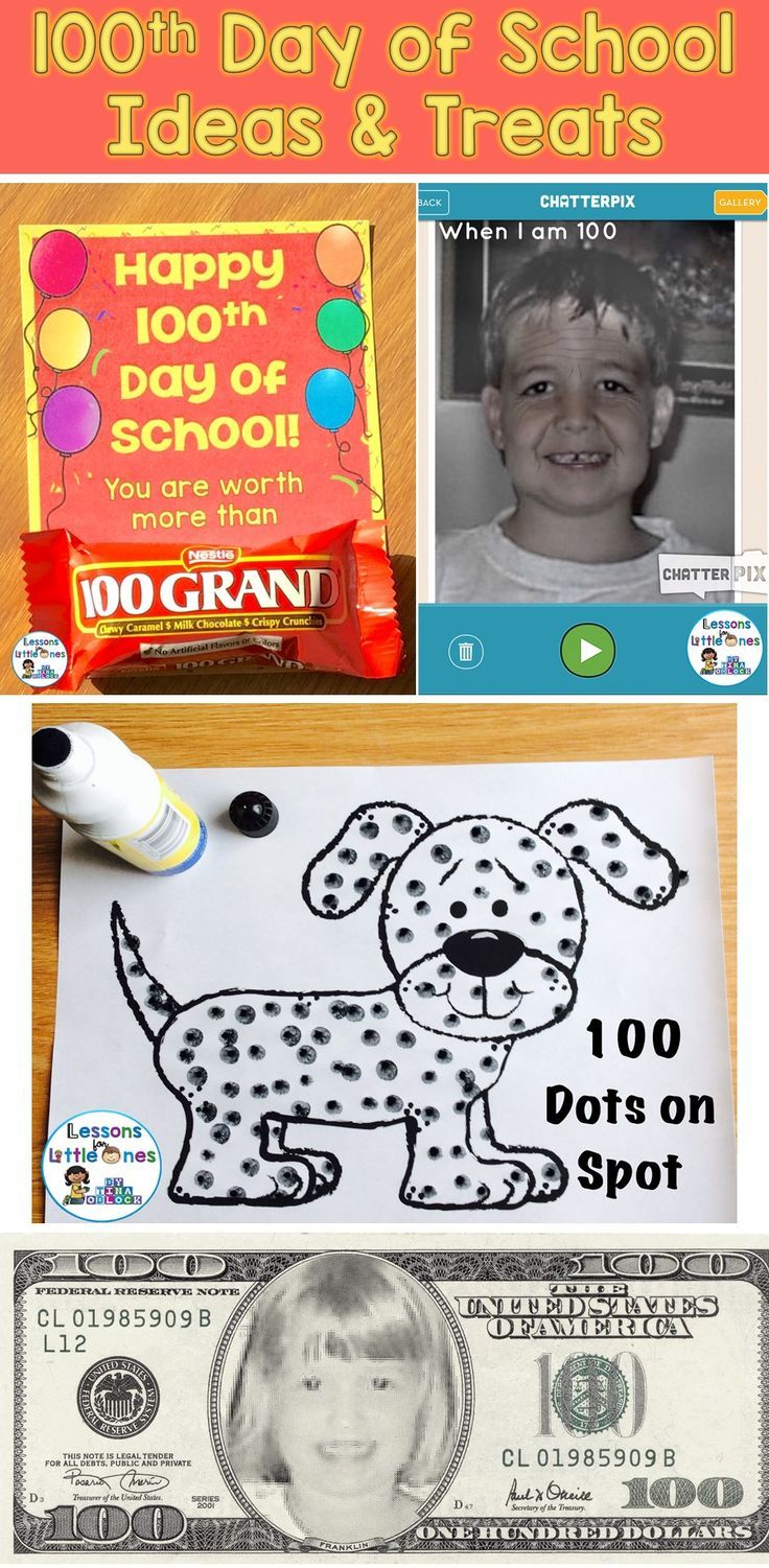 100th Day of School Ideas and Treats / Snacks - Fun ideas for celebrating 100 days in school including crafts, ways to incorporate free apps, special treats for students, games, puzzles, & more.