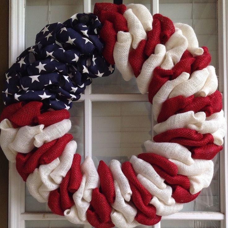 Patriotic Wreath - Burlap Wreath - 4th of July Wreath - Summer Wreath - Spring Wreath - Door Wreath - American Flag by JnSMDesigns on Etsy https://www.etsy.com/listing/232171005/patriotic-wreath-burlap-wreath-4th-of