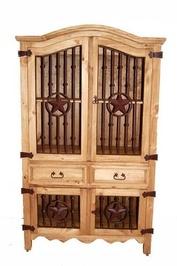Honey Rustic Iron Front Armoire Media Cabinet
