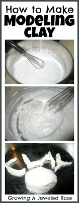 Modeling clay made from Baking soda, cornstarch, & water. Trying this on Wednesday!