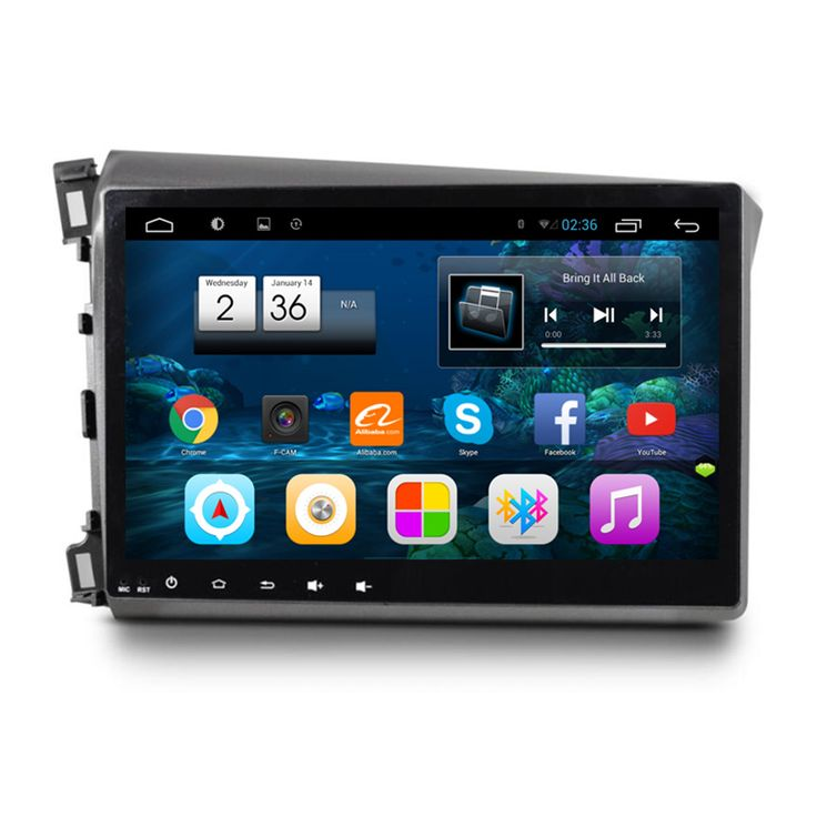 "10.2"" Quad Core 1024X600 Android Car Radio DVD GPS Navigation Central Multimedia for Honda Civic 2012 2013 2014 2015 2016"