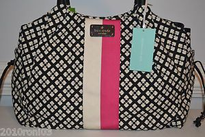 NWT Kate Spade Classic Spade Black White Pink Stevie Baby Diaper Bag NEW- $395