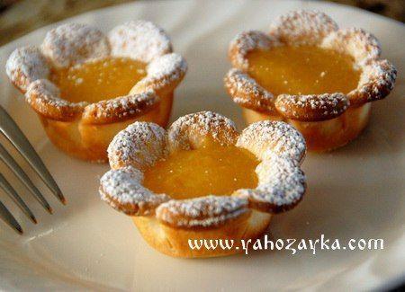 Печенье- лимонные цветы. Выпечка из слоённого теста в духовке