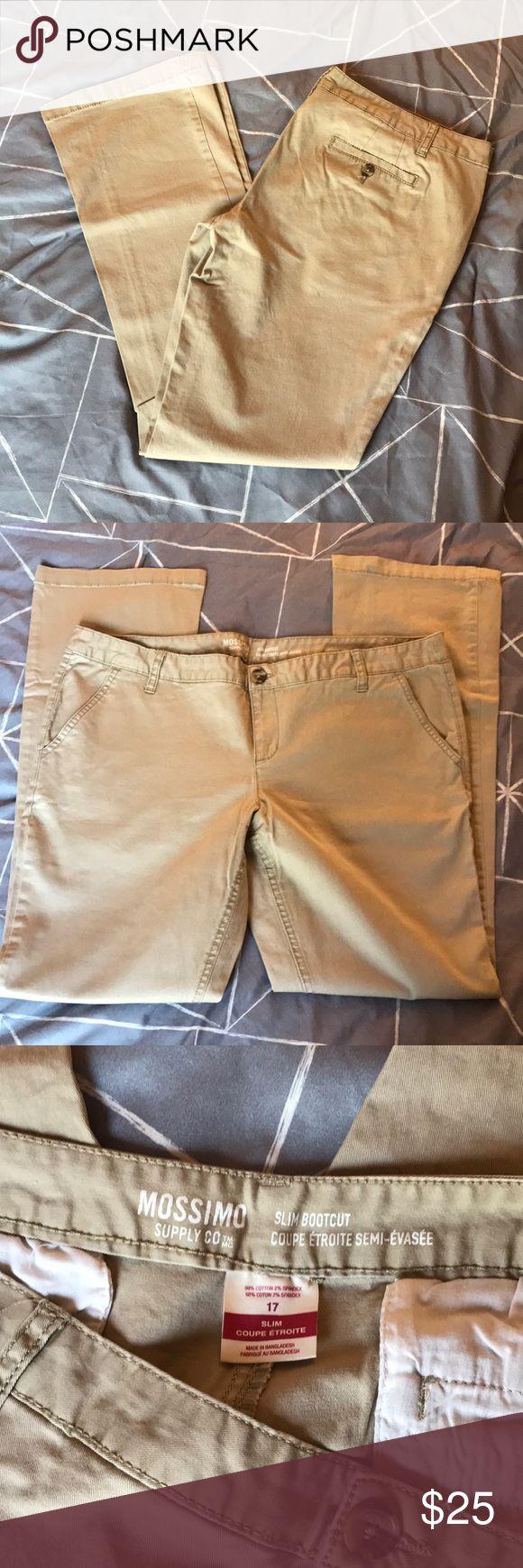 Mossimo Supply Co. Slim BootCut 17 khaki pants NWOT Mossimo Supply Co. khaki bootcut slim pants. Never worn size 17 juniors. Mossimo Supply Co Pants Boot Cut & Flare