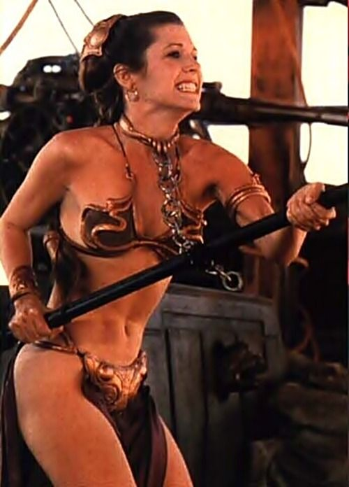Princess Leia Organa in the famous Huttese metal bikini designed for the local slave girls. Carrie Fisher rocked it.