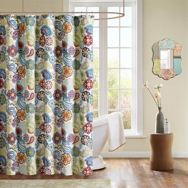 Intelligent Design Nina Printed Shower Curtain In Yellow Teal