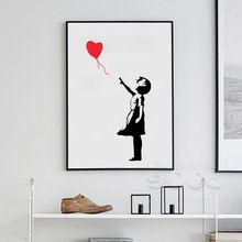 Banksy Ballon Meisje Canvaskunst Schilderen Poster, muur Foto Voor Huisdecoratie, Frame exclusief 156(China (Mainland))