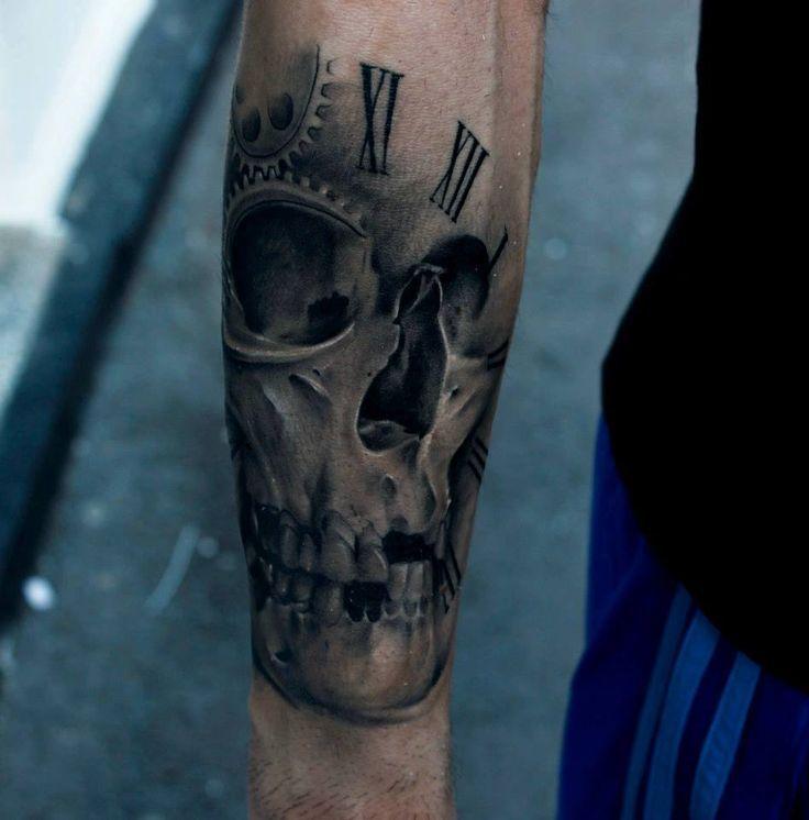 black-tattoo-for-men-skull-and-time