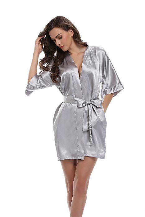 Sunnyhu Women\'s Pure Color Kimono Robe, Short (S, Orange) at Amazon ...