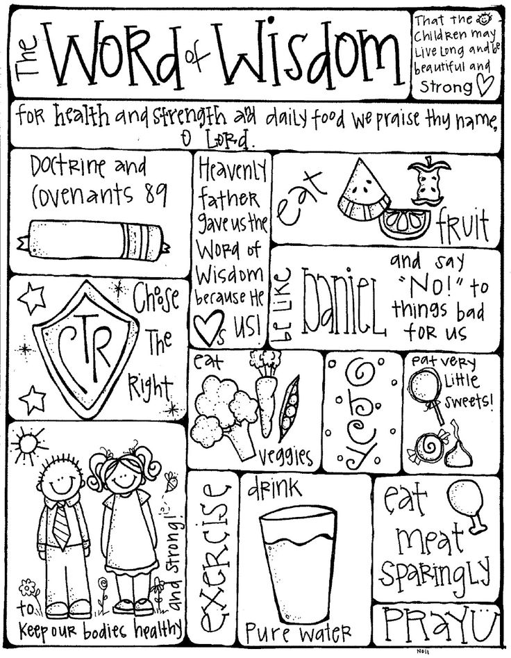 Word of Wisdom coloring Page for FHE + a great site for other fhe/lesson ideas