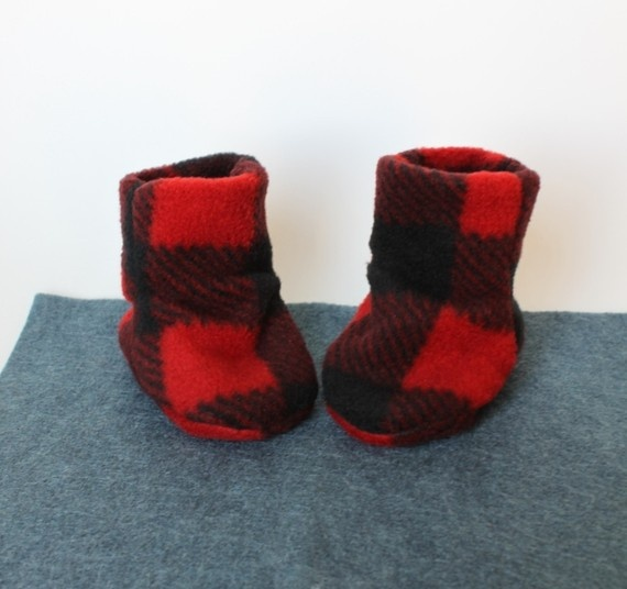 To match my lumberjack boots! Lumberjack Baby Booties, HandMadeTherapy on Etsy.com - $20