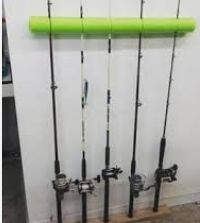 Genius way to store fishing poles using a pool noodle