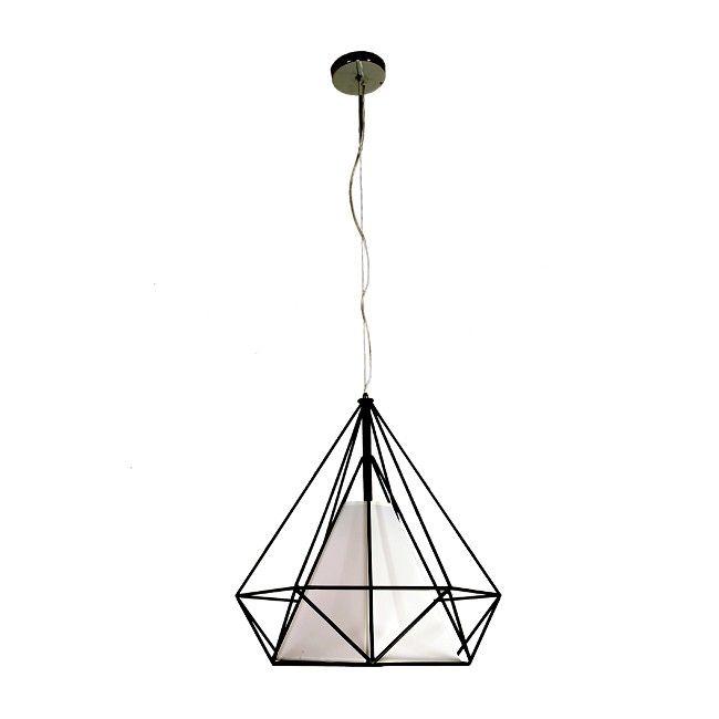 Lampa wisząca Triangolo 1 x 40 W E27 czarna / biała - Lampy wiszące - Lampy ścienne i sufitowe - Oświetlenie - Urządzanie