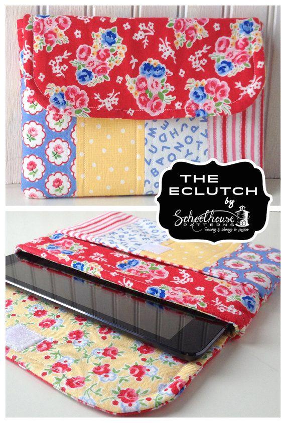 eclutch sewing pattern sleeve case with por SchoolhousePatterns