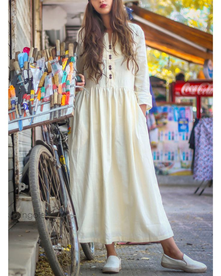 The Secret Label Off White Cotton Solid Anarkali Kurti