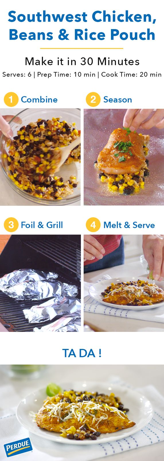 These Southwest Chicken, Beans & Rice Pouches are a super delicious and easy summer dinner. Pop these foil packets filled with Perdue® Perfect Portions® Boneless, Skinless Chicken Breast on the grill and have dinner on the table in no time. Check out the full recipe by clicking the image.