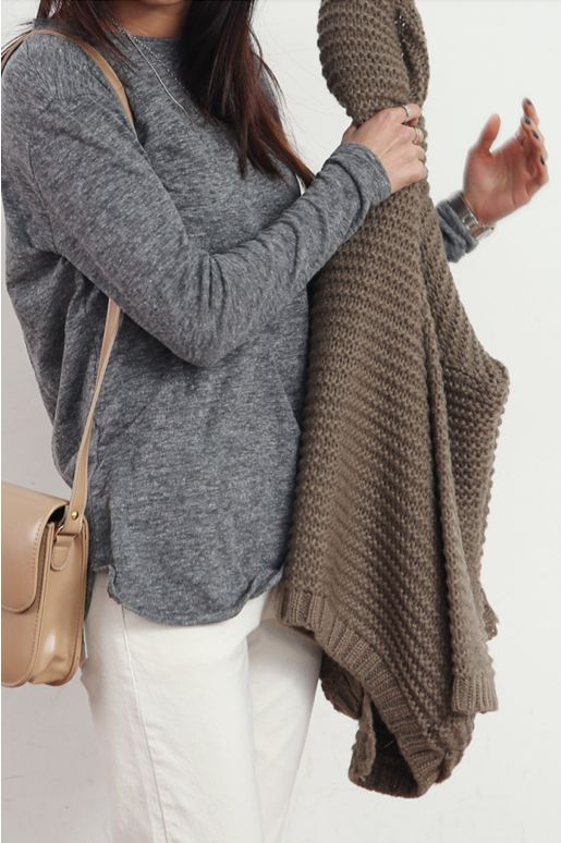 Gray top with white jeans and neutral cardigan plus a nude purse