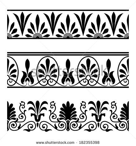 Vector set of national greek seamless ornaments (patterns, borders) - stock vector