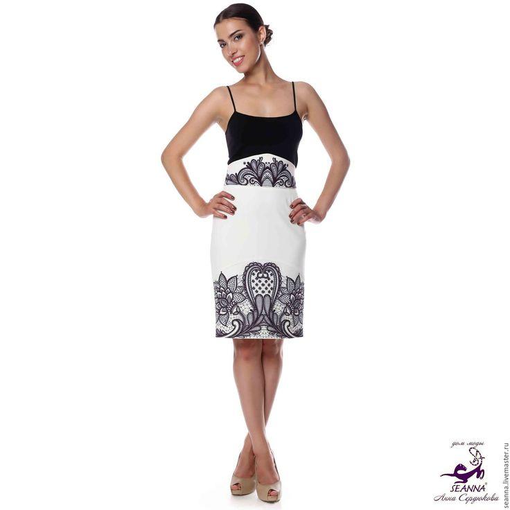 Купить Юбка со съемным поясом с авторским орнаментом Кружево на подкладке - юбка, юбка карандаш