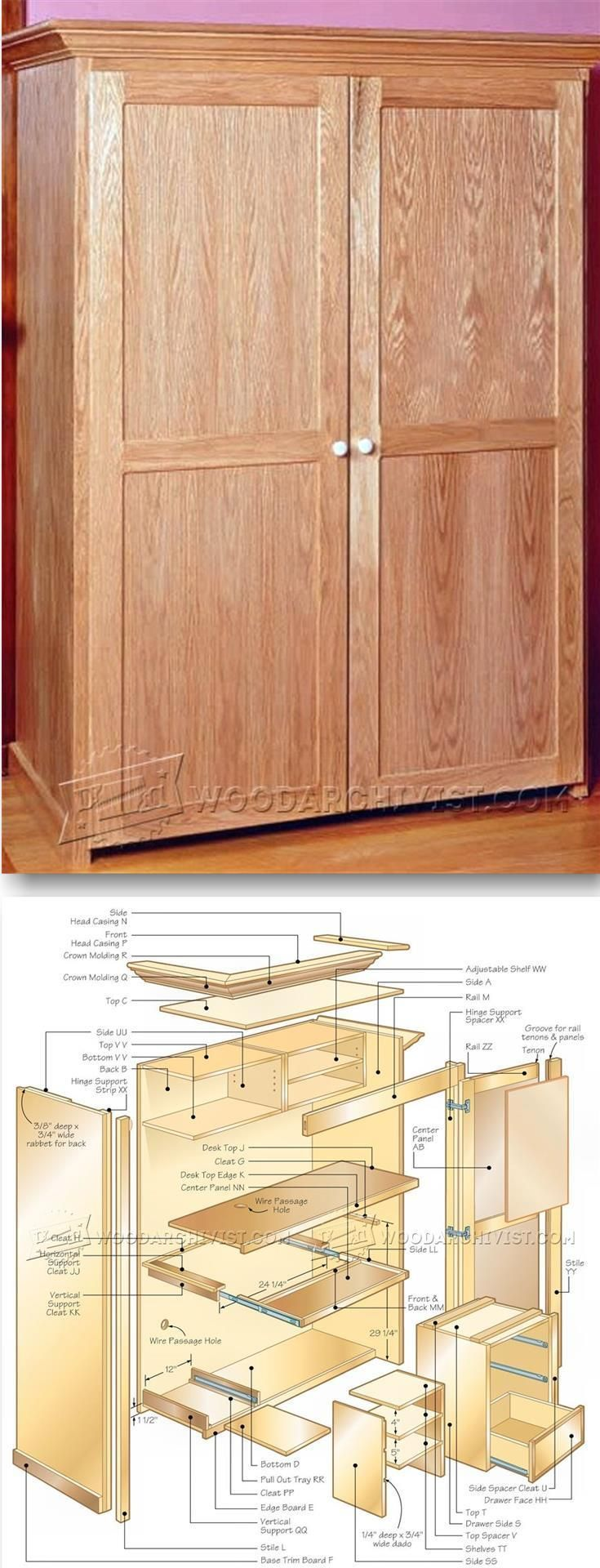 computer armoire plans furniture plans and projects