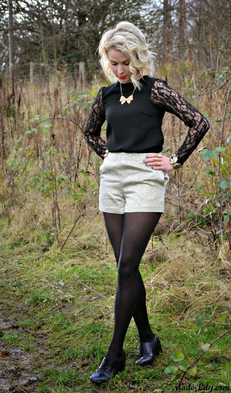 Going out outfit for winter, #goldshorts gold accessorise, black and gold outfit