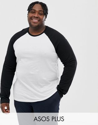 76a73a62 DESIGN Plus long sleeve t-shirt with contrast raglan | Crow Fashion ...